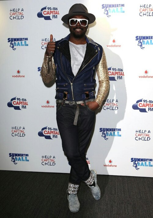 0573addc2d7 Will.i.am wears Gold Sleeve Jacket and Christian Louboutin Rollerboy ...